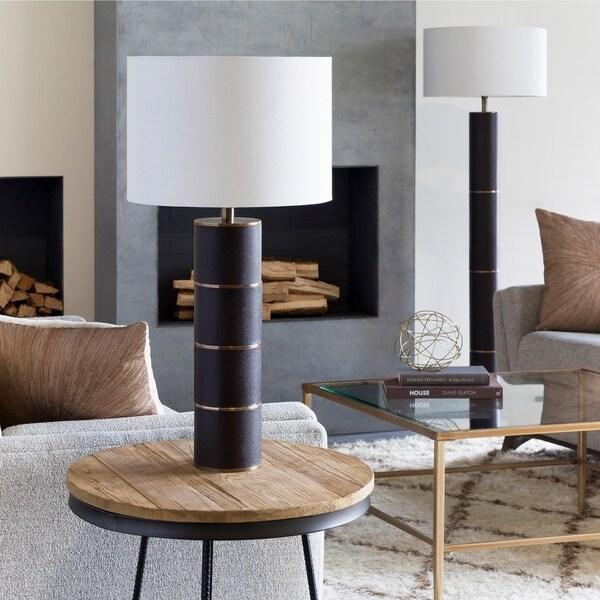 Boneventura 28.5 in. Dark Brown Leather Table Lamp