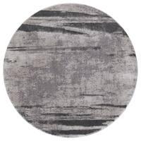 Ada Twilight Collection Gray Round Area Rug - 5'3 x 5'3