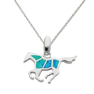 Versil Sterling Silver Created Blue Opal Inlay Horse Pendant With 18-inch Chain