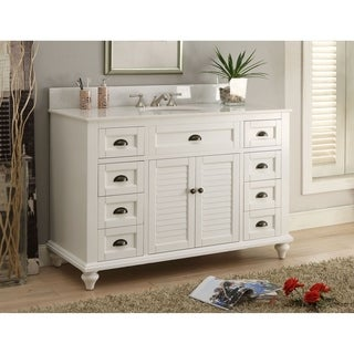 "49"" Benton Collection Glennville White Bathroom Vanity W/ Matching BS"