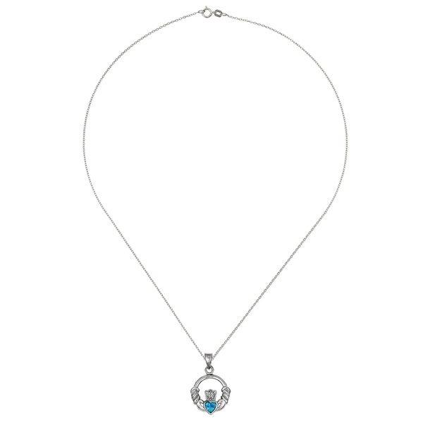 Sterling Silver Blue Inlay Created Opal Irish Claddagh Pendant