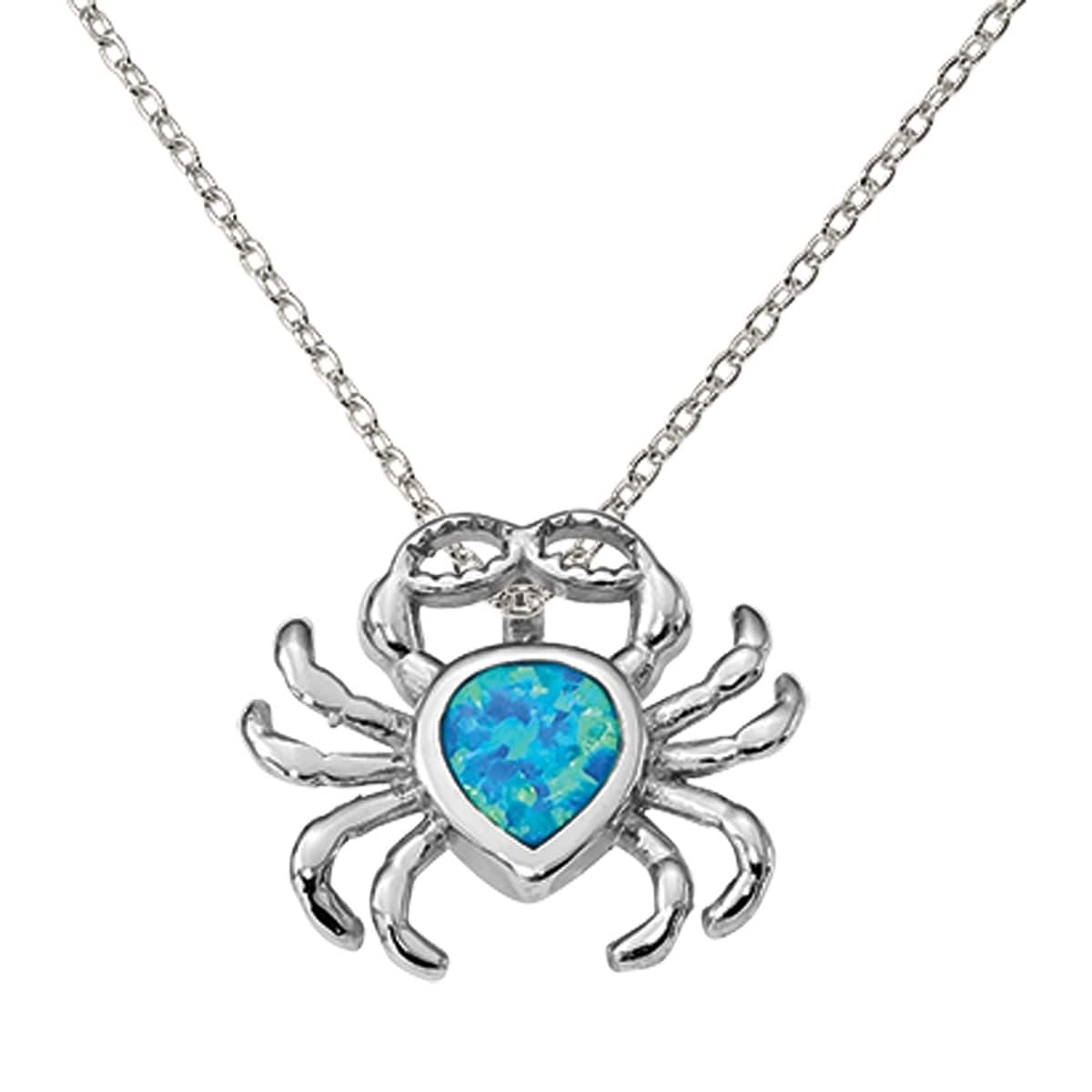 Sterling Silver Rhodium-plated Blue Created Opal Starfish Turtle Pendant