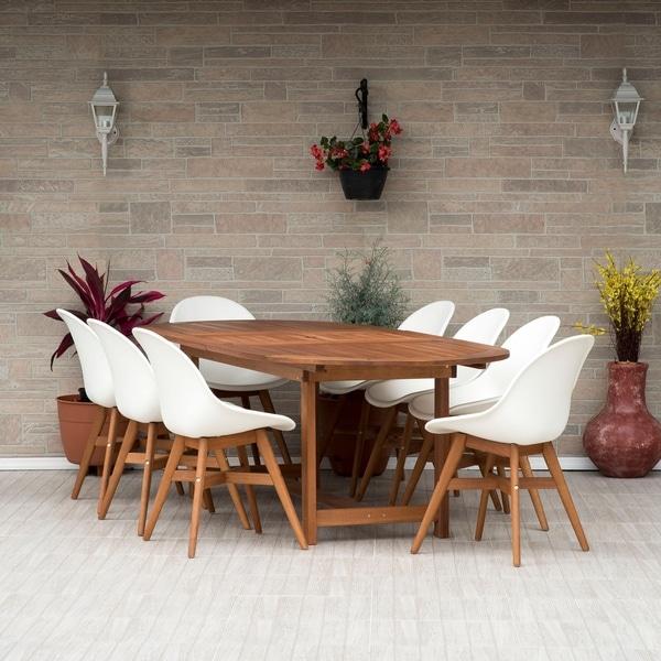 Amazonia Teak Hawaii White 9 Piece Rectangular Double Extendable Oval  Sidechair Patio Dining Set
