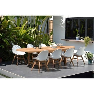 Amazonia Teak Hawaii White 9-Piece Rectangular Double Extendable Oval Sidechair Patio Dining Set