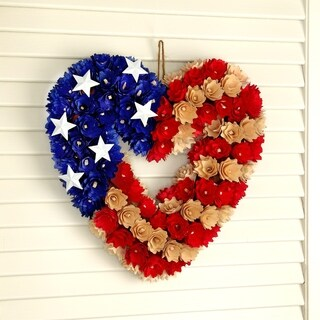 13 Inch WoodShave Heart Shaped Independence Wreath