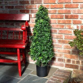 37 Inch Potted Plastic English Boxwood Cone Topiary