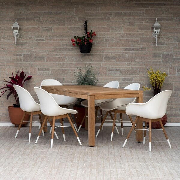 Amazonia Teak Deluxe Hawaii White 7 Piece Rectangular Sidechair Patio Dining Set