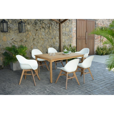 Amazonia Teak Deluxe Hawaii White 7-piece Rectangular Sidechair Patio Dining Set