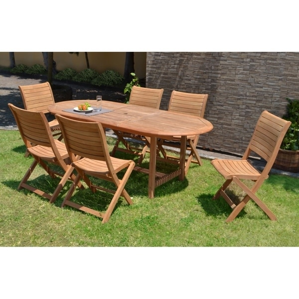 Ia Teak Sessa 7 Piece Extendable Oval Patio Dining Set On Free Shipping Today 20729884