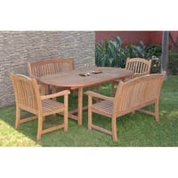 Amazonia Teak Giacomo 5-piece Teak  Extendable Oval Patio Dining Set