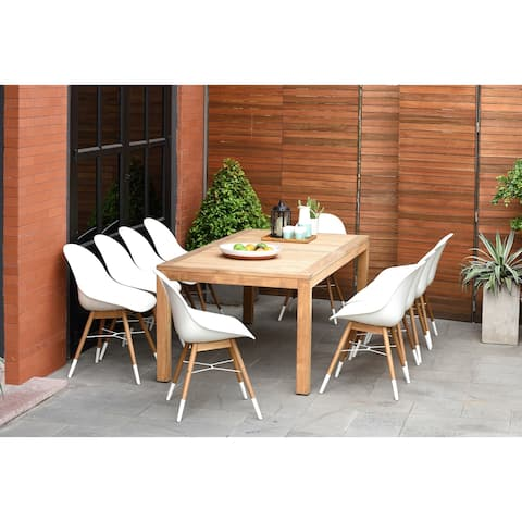 Amazonia Teak Bonita White 11-piece Rectangular Patio Dining Set