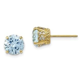Versil 10 Karat Yellow Gold Diamond Lab Created Aquamarine Post Earrings