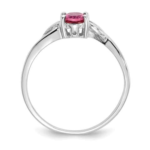 Versil 10 Karat White Gold Polished Geniune Pink Tourmaline Birthstone Ring