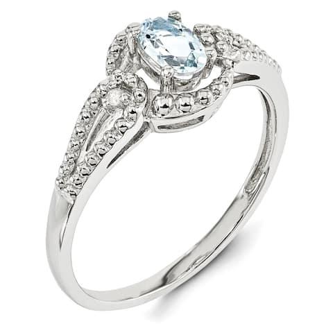 Versil Sterling Silver Rhodium-plated Aquamarine and Diamond Ring
