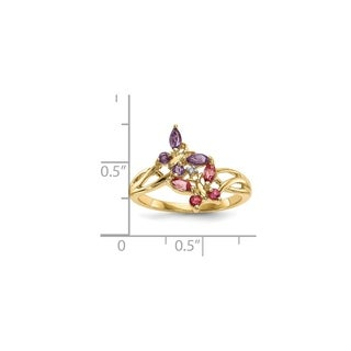 Versil 14 Karat Yellow Gold With Amethyst, Pink Tourmaline and Diamond Ring
