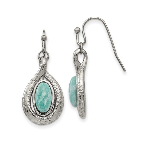 Versil Stainless Steel Polished And Textured Dyed Synthetic Green Jade Earrings
