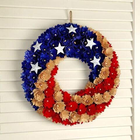 13 Inch WoodShave Round Independence Wreath