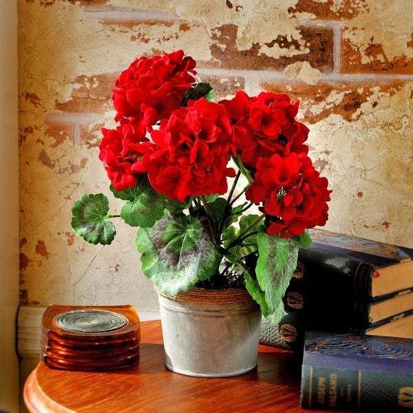 12 Inch Potted Artificial Geranium in Tin Base