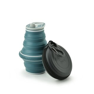 HYDAWAY Collapsible Water Bottle and Travel Case Combo Pack Storm Blue