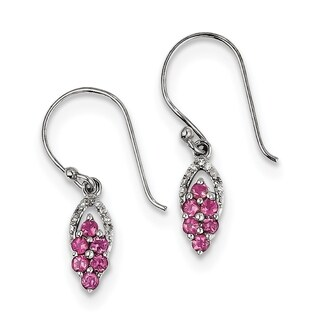 Versil Sterling Silver Rhodium Diamond And Pink Tourmaline Shepherd Hook Earrings