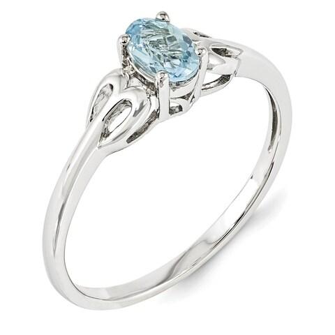 Versil Sterling Silver Rhodium-plated Aquamarine Ring