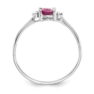 Versil 10 Karat White Gold Polished Geniune Diamond Pink Tourmaline Birthstone Ring