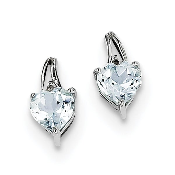 Versil Sterling Silver Rhodium Plated Diamond Aquamarine Heart Post Earrings