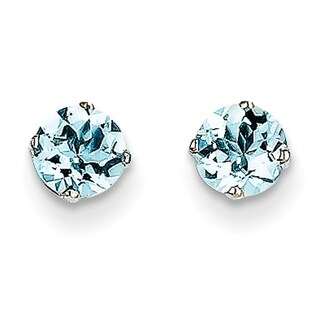 Versil 14 Karat White Gold 5mm Aquamarine Stud Earrings