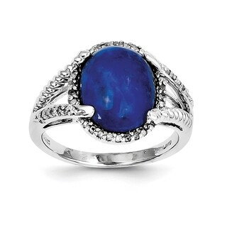 Versil Sterling Silver Rhodium-plated Lapis and Diamond Ring