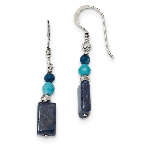 Versil Sterling Silver Crystal/Iolite/Lapis/BlueQuartz/Reconstructed Blue Magnesite Shepherd Hook Earrings