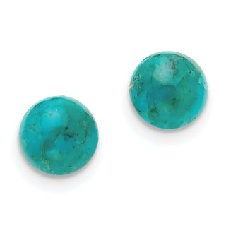 Versil Sterling Silver 10-10.5mm Button Turquoise Post Earrings