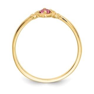 Versil 14 Karat Yellow Gold Pink Tourmaline Birthstone Heart Ring