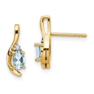 Versil 14 Karat Yellow Gold Diamond And Aquamarine Earrings