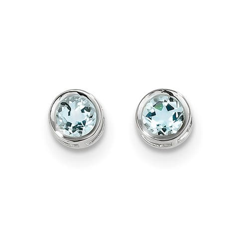 Versil 14 Karat White Gold 5mm Bezel Aquamarine Stud Earrings
