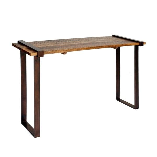 Strap Iron Coarse Rough Cut Natural/ Dark Bronze Console Table