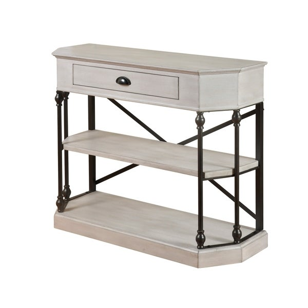 3-tier Single Drawer Antique White Clipped Corner Console Table - Black Metal Frame