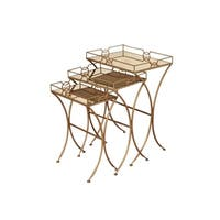 Mirror Top Inset Nesting Tables - Antique Gold Base (Set of 3)