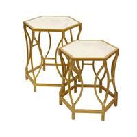 Hexagonal White Carrara Marble Nesting Tables - Antique Gold Painted Frame Base (Set of 2)