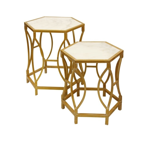 Marble Ayva Nesting Coffee Tables Set Of 2: Shop Hexagonal White Carrara Marble Nesting Tables