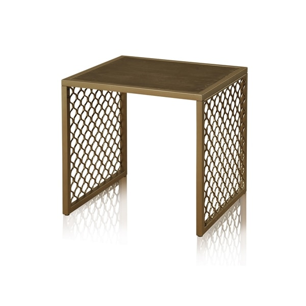 Braided Wrought Iron Side Table - Lower Shelf