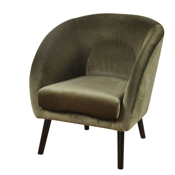 Shop Silk Road Slope Arm Avocado Green Velvet Lounge Chair
