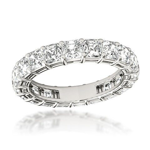 Luxurman Platinum Asscher Cut G Color VS Clarity Diamond Eternity Band Anniversary Ring 4ctw