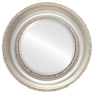 Somerset Framed Round Mirror in Silver Shade - Silver/Brown