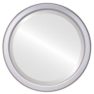 Toronto Framed Round Mirror in Silver Shade - Silver/Brown
