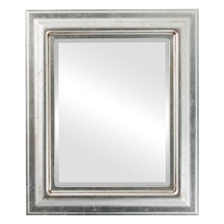 Lancaster Framed Rectangle Mirror in Silver Leaf with Brown Antique - Silver/Brown