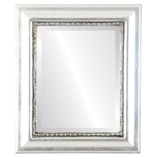 Chicago Framed Rectangle Mirror in Silver Leaf with Black Antique - Silver/Black