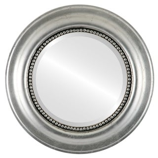 Heritage Framed Round Mirror in Silver Leaf with Black Antique - Silver/Black