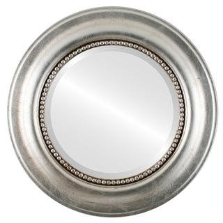 Heritage Framed Round Mirror in Silver Leaf with Brown Antique - Silver/Brown