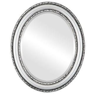 Dorset Framed Oval Mirror in Silver Spray