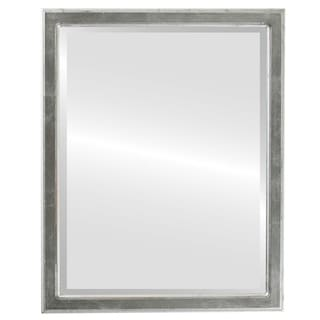 Toronto Framed Rectangle Mirror in Silver Leaf with Black Antique - Silver/Black
